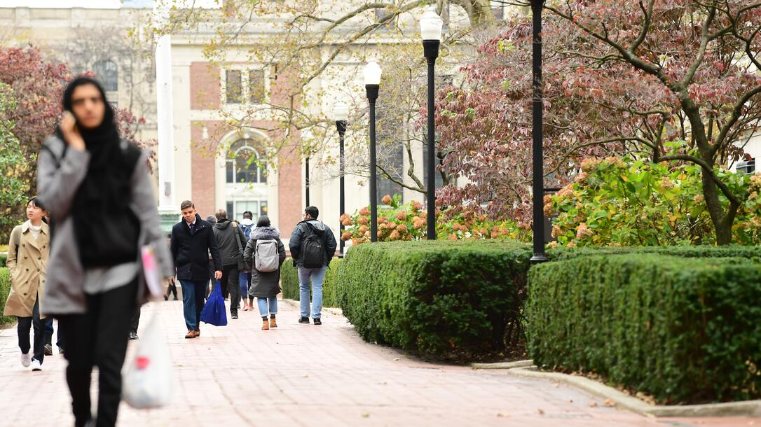 Student cross the Morningside campus